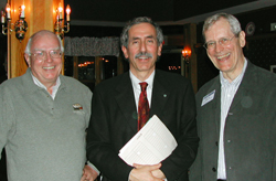 Ron Worton, Alan Bernstein and Jim Till at the Stem Cell Network's first scientific meeting in 2002