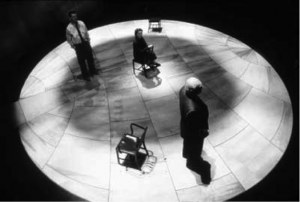 In the original play, the two physicists' ghosts are staged walking an orbital trajectory like electrons that move around the nucleus metaphorically represented by Bohr's wife Margrethe, occupying the center of the stage. Much controversy exists on whether the two physicists helped the German dictator Hitler to develop the nuclear bomb and to what extent the two were aware of it. Wiki source