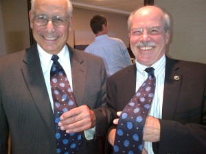 Drs. Arnold Caplan (CWRU) & Glenn Prestwich (U. of Utah) show off their stem cell ties