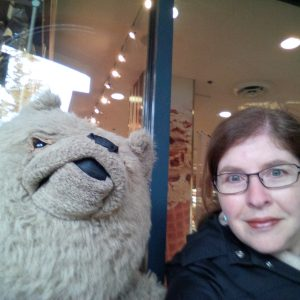 The author, with an unbearably cute friend she made in Whistler