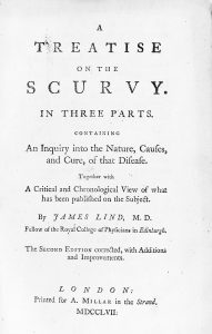 M0013130 James Lind, A Treatise on the Scurvy, 1757 Credit: Wellcome Library, London. Wellcome Images images@wellcome.ac.uk http://wellcomeimages.org Title page A treatise on the Scurvy, 2nd edition Lind, J. Published: 1757 Copyrighted work available under Creative Commons Attribution only licence CC BY 4.0 http://creativecommons.org/licenses/by/4.0/